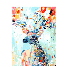 Abstract Colorful Deer Frameless DIY Painting By Numbers Handpainted Oil  On Canvas Home Decor Unique Gift