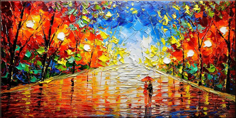 Us 70 98 9 Off Hand Painted Abstract Art Painting Modern Textured Painting Park Landscape Textured Modern Palette Knife Painting Colourful In