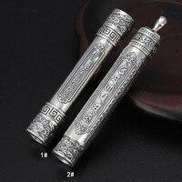 925 пробы серебро украшения тайские серебряные Ruyi Золотое кольцо Stick Шесть Слово мантра зарядки прикуривателя Для мужчин кулон