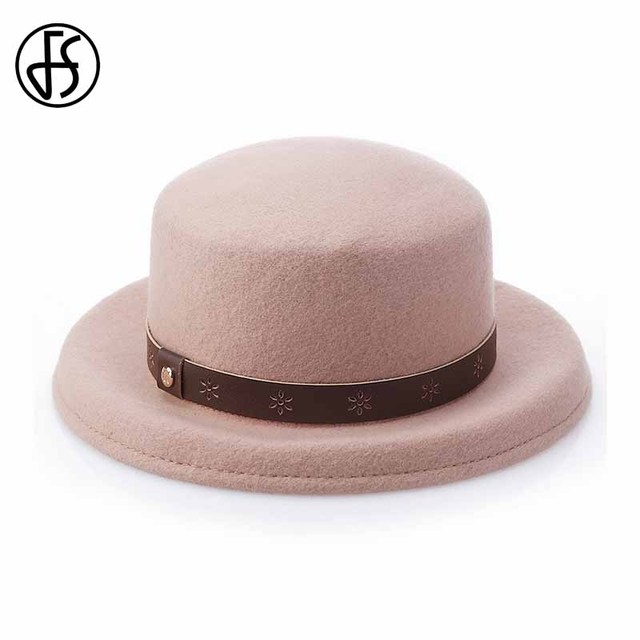 a1d6df027 US $18.81 16% OFF|FS Women Wide Brim Wool Felt Fedora Panama Hat Black  Elegant Leather Belt Cap Fashion Chapeau Classic England Style Jazz Caps-in  ...