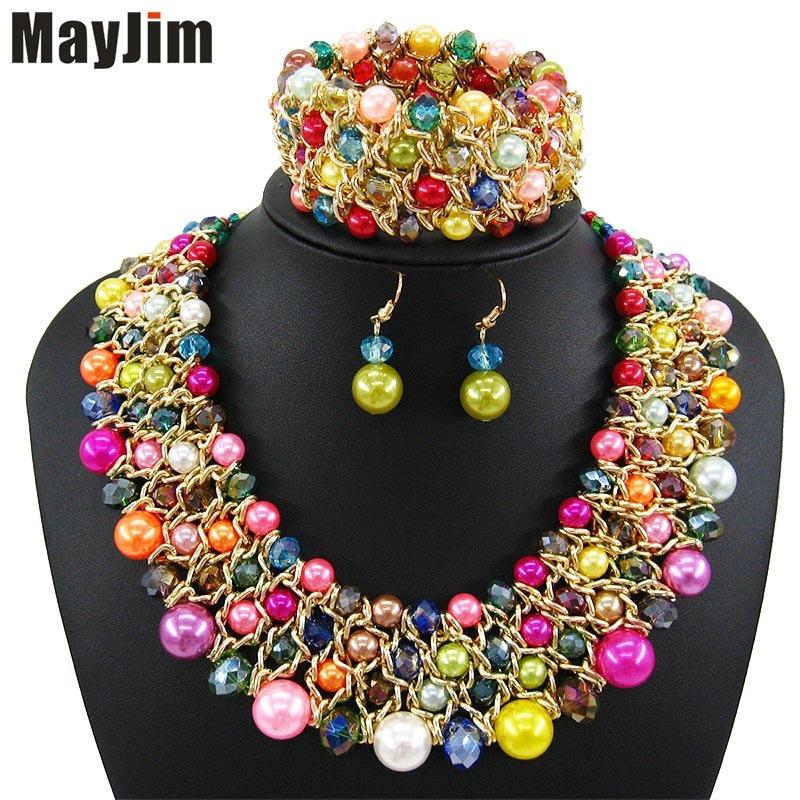MayJim Δαχτυλίδι κολιέ 2018 κοσμήματα μόδας σύνολα Χειροποίητο χάντρα αλυσίδα μεγάλο μαργαριτάρι κοσμήματα dubai σύνολα Vintage χάντρες Bijoux