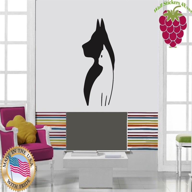 Wall Stickers Vinyl Decal Cat And Dog Friendship