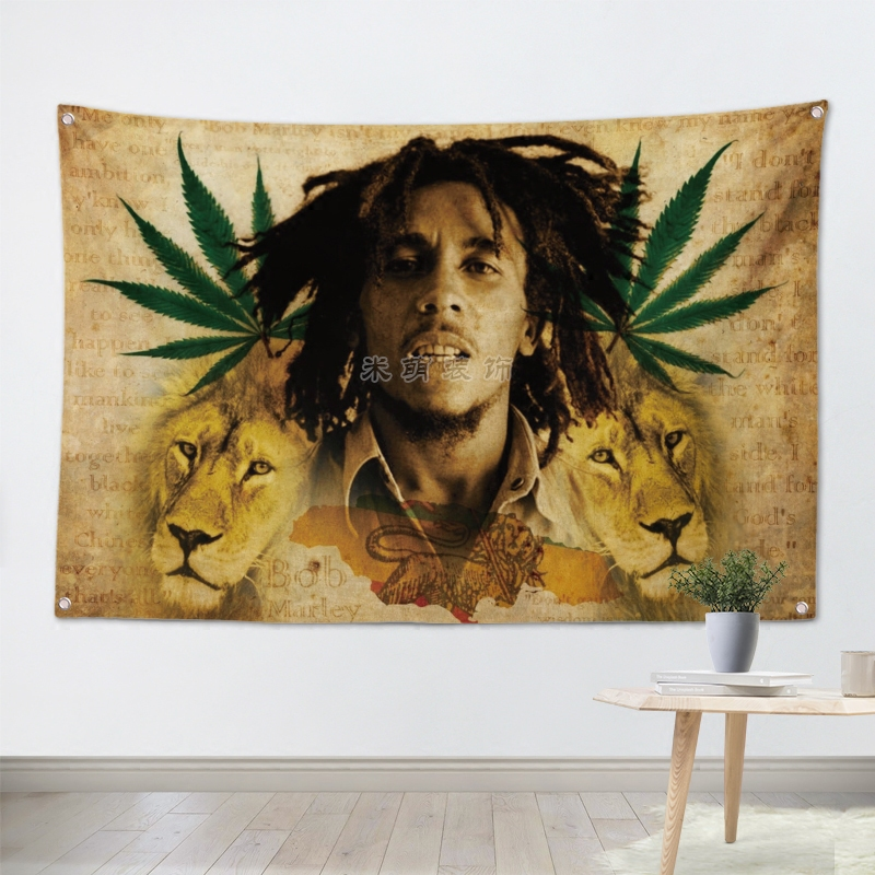 BOB MARLEY Rock Band Hanging Art Waterproof Cloth Polyester Fabric 56X36 inches Flags banner Bar Cafe Hotel Decor image