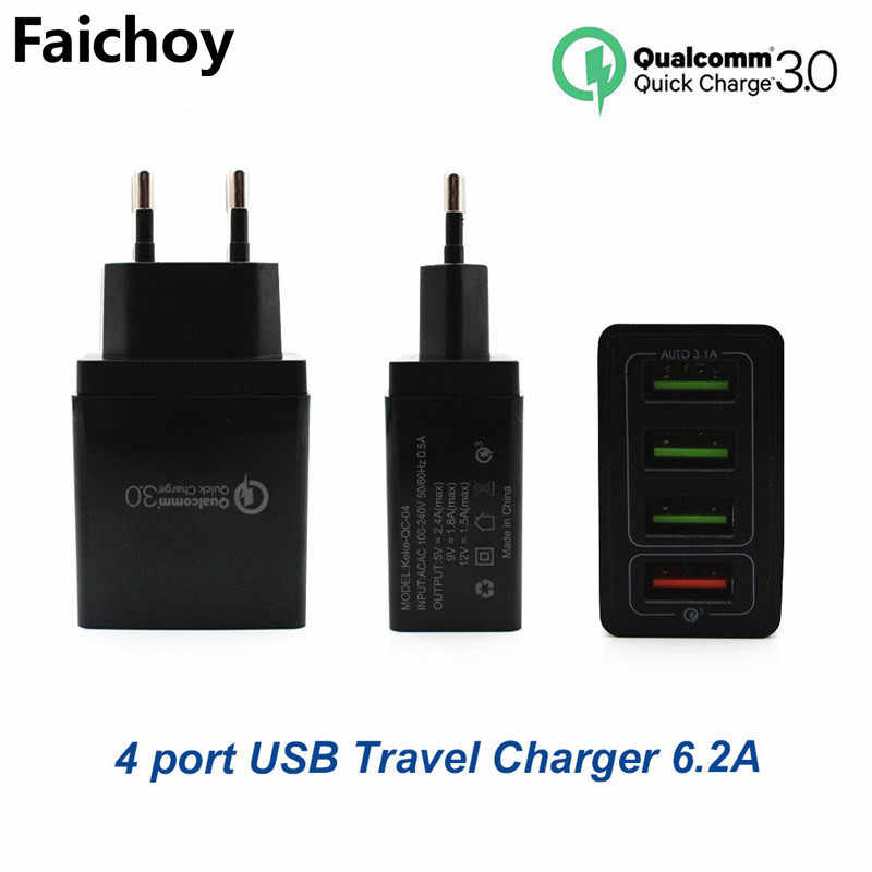 High Quality 4 Port USB Charger QC/3.0 EU/US Phone Travel Wall Chargers Fast for iphone Huawei Quick Charge Adapter Ipad Tablet