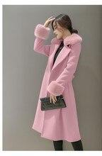 women jacket women winter coat Winter new Korean women fur collar Slim Long woolen coat waist coat free shipping