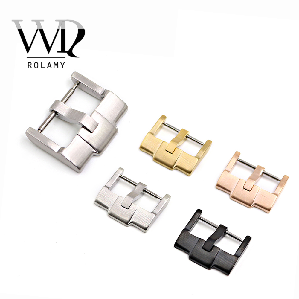 Rolamy 18mm Hot Wholesale New Silver Brushed Gold Polished Stainless Steel High quality Pin Watch Buckle Clasp without logo in Watchbands from Watches