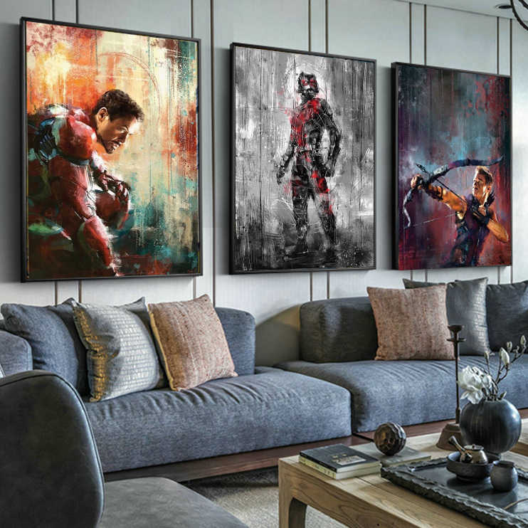 cartoon the avenger super hero Captain America movie Poster Nordic Boy Kids Room Wall Art Canvas Painting Print cuadro poster
