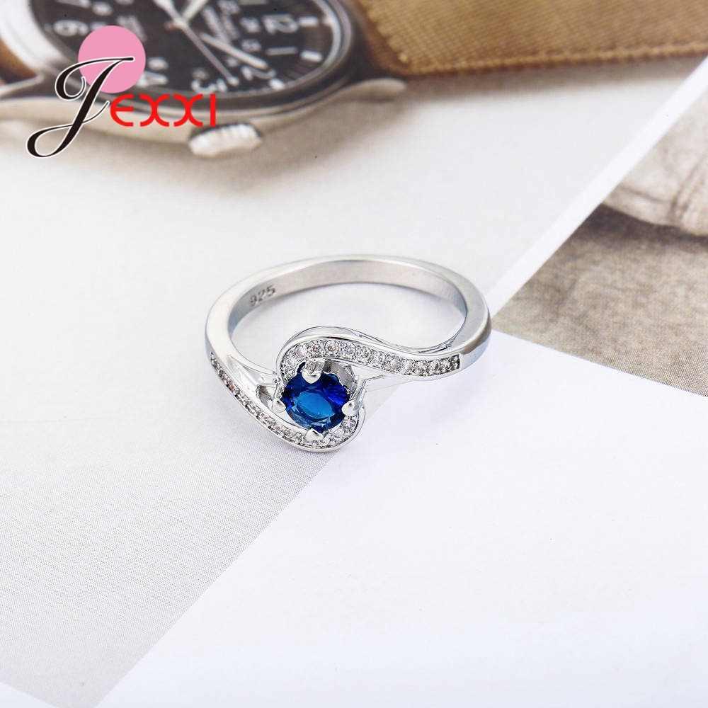 ใหม่ 925 Sterling Silver Wave-ที่พิมพ์หญิงรุ่น Sapphire Zircon Micro-encrusted คริสตัลแหวนวันหยุดเครื่องประดับ