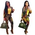 Autumn 2016 African Print Two Piece Set Print Ladies Blazer Suits Elastic Waist Long Sleeve Casual Pants Suit Blazers
