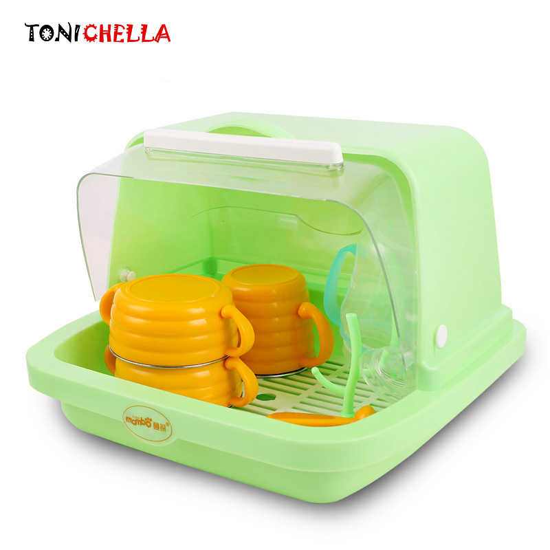 Multifunctional Plastic Storage Box Infants Milk Bottle Container Clamshell Cups Drain Drying Rack Portable Organizer T0356