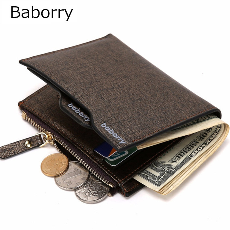 Casual Men Wallets Bifold Wallet ID Card Holder Coin Purse Pockets Clutch with Zipper Coin Bag Men Wallet with for male Gift