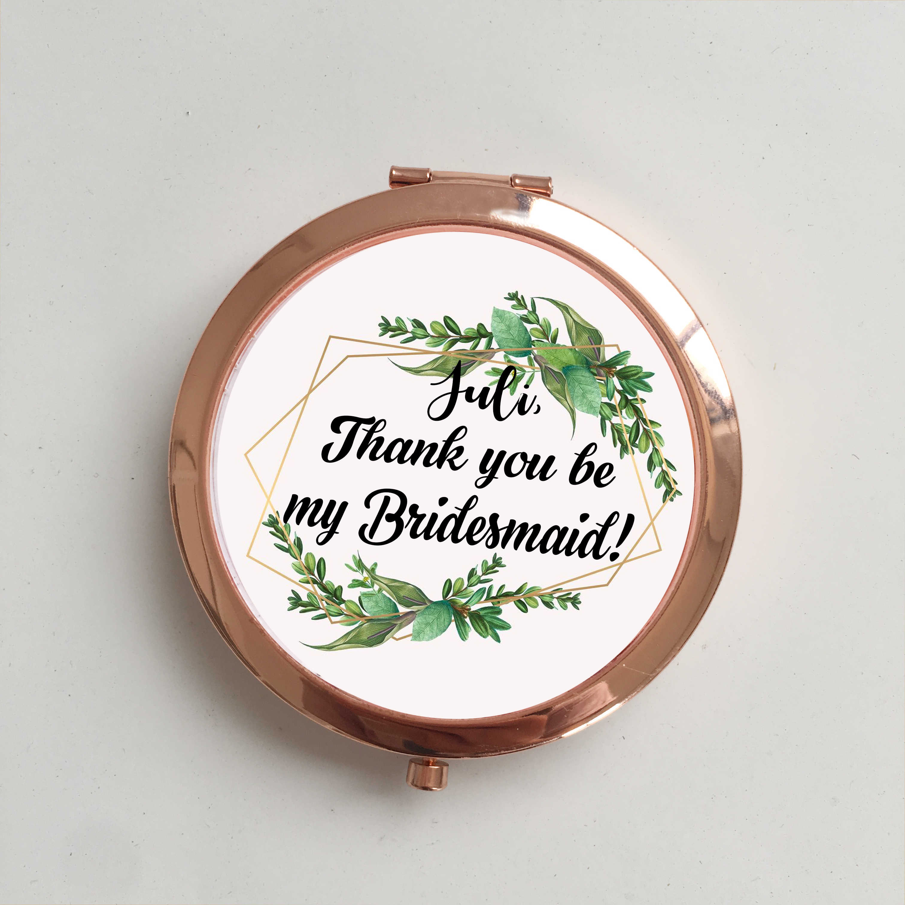 Free Shipping 1 pcs lot Unique Custom logo Wedding Bride to be Bridesmaid gifts Personalized portable compact mirror gift