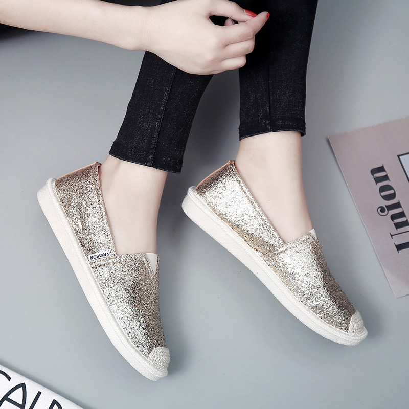 Fisherman Shoes Bling bling Round Toe Joker Loafers Lady Espadrilles Women  Breathable Mocasines mujer Slip On Shoes 2018 Spring-in Women s Flats from  Shoes ... da32b458af58