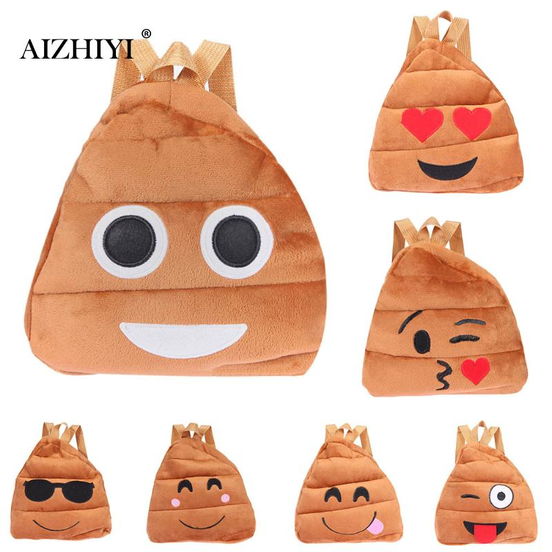 Fashion Cute Kids Face Expression Soft Plush Backpacks Schoolbag Kindergarten Toy Child Bags for Teenage Girls Small Schoolbag