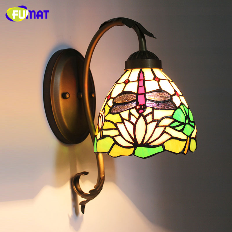 FUMAT Stained Glass Wall Lamp Bedside Lights European Warm White Wall Sconces Creative Art Glass Shade Corridor Aisle Wall Lamps tiffany baroque sunflower stained glass iron mermaid wall lamp indoor bedside lamps wall lights for home ac 110v 220v e27