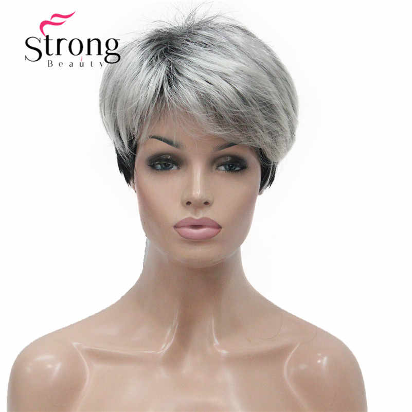 StrongBeauty Short Silver Grey With Black