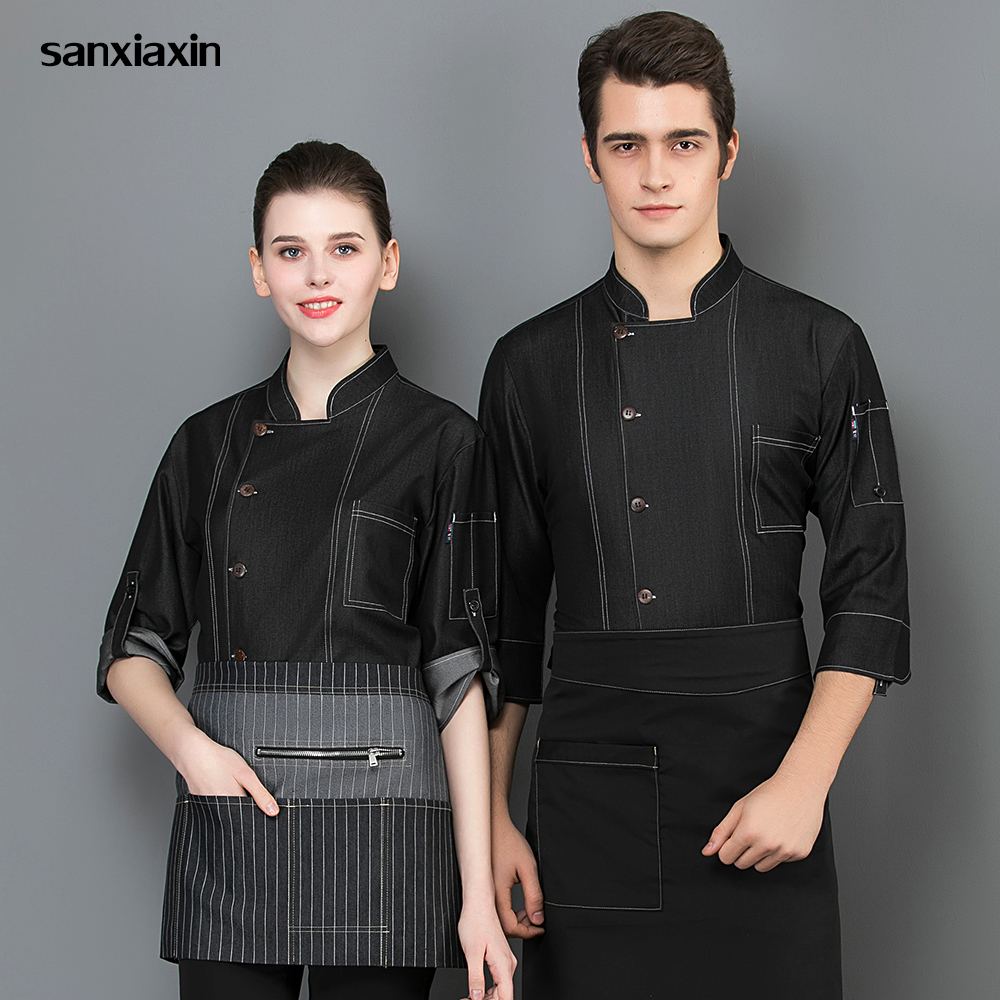 New Chinese Chef Bakery Hotel Uniform Chef Coat Food Service Shirt Kitchen Uniform Sushi Jacket Long Sleeves Restaurant Uniform