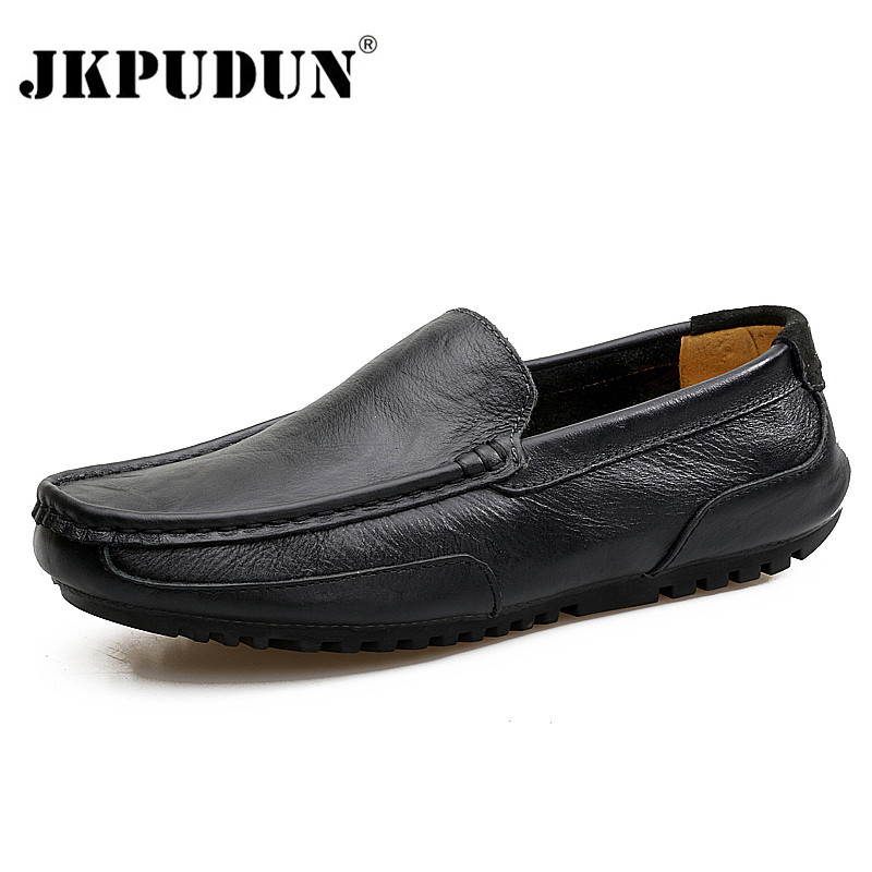 Italian Men Casual Shoes Luxury Brand Genuine Leather Mens Loafers Moccasins Soft Breathable Slip On Boat Shoes Plus Size 37-47