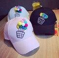 2016 новый милый бейсбол воздушный шар Сплошной вышивкой крышка хип-хоп шляпа бейсболки женщина сладкие macarons цвет шляпы от солнца,