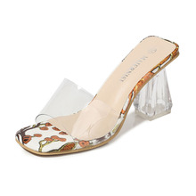 High Heels Sandals Jelly Summer Fashion Square Toe Chunky Clear Ladies Flower Transparent Women Shoes Big Size 46