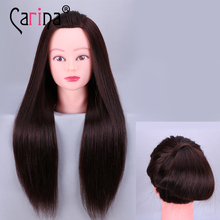 Professional 90% Natural Hair Black hairdressing dolls head Female Mannequin Hairdressing Styling Training Head
