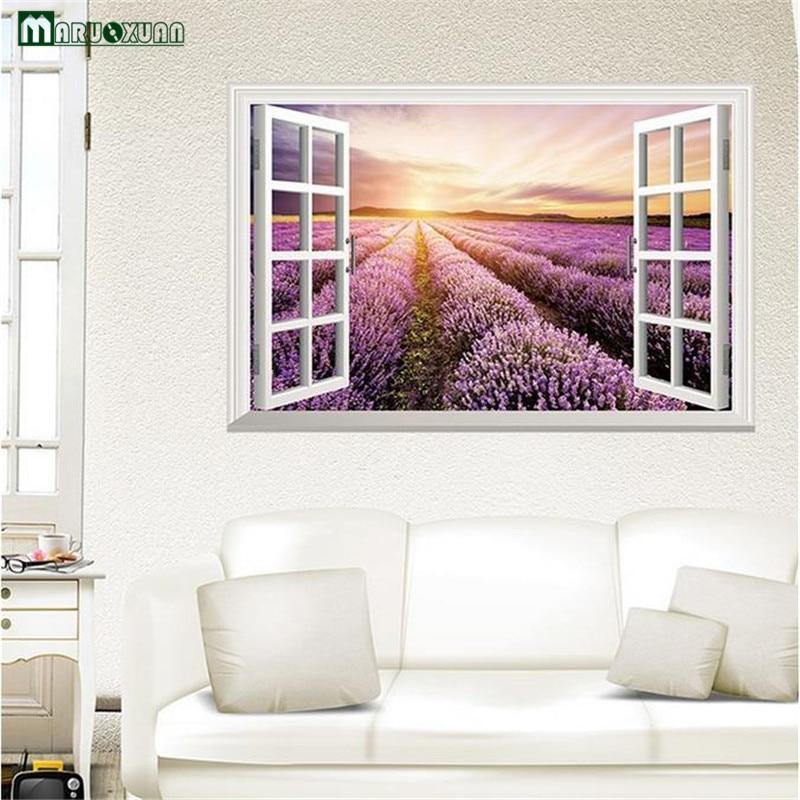 US $5 89 |YunXi 3D Fake Windows Purple Lavender Stickers Living Room  Bedroom Study Background Decoration Wallpaper PVC Wall Stickers-in Wall  Stickers