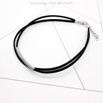 Bending tube Velvet Choker Double layer Style Torque Black Short Leather Necklace 2