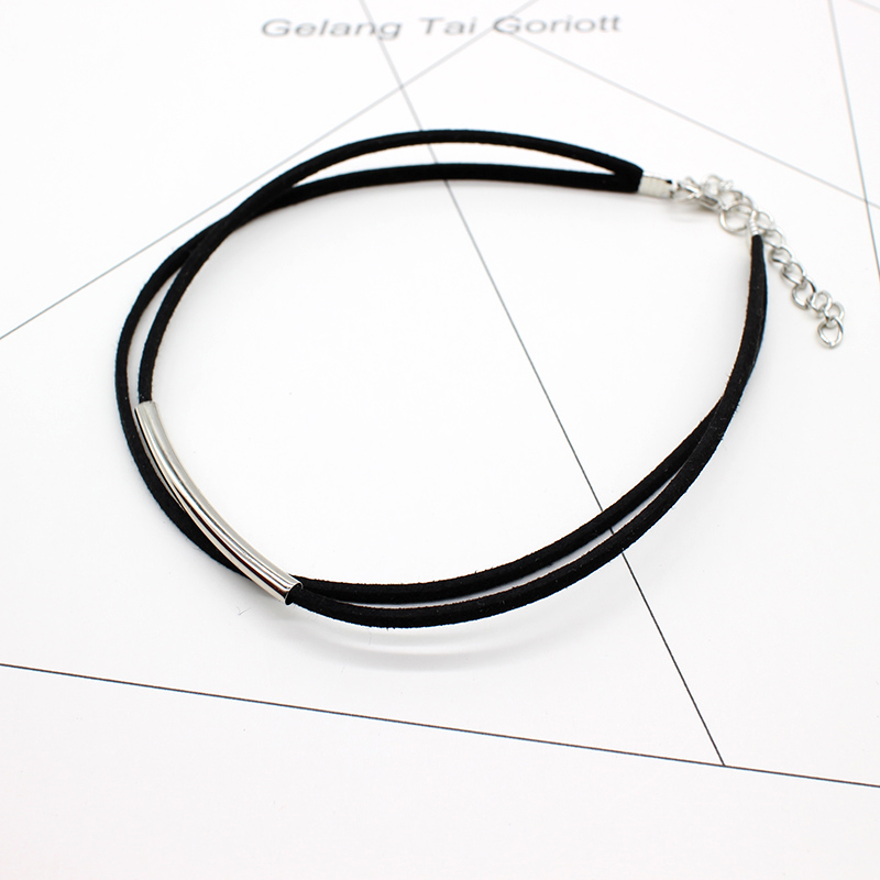 2019 New fashion Bending tube Velvet Choker Necklace Double layer Style Torque Black Short Leather Necklace Charm Collier Femme 2