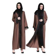 4d9fbfdd1cef Adultos musulmanes Abaya ropa islámica para las mujeres Dubai árabe islámico  ropa de alta calidad señoras vestido de encaje fren.