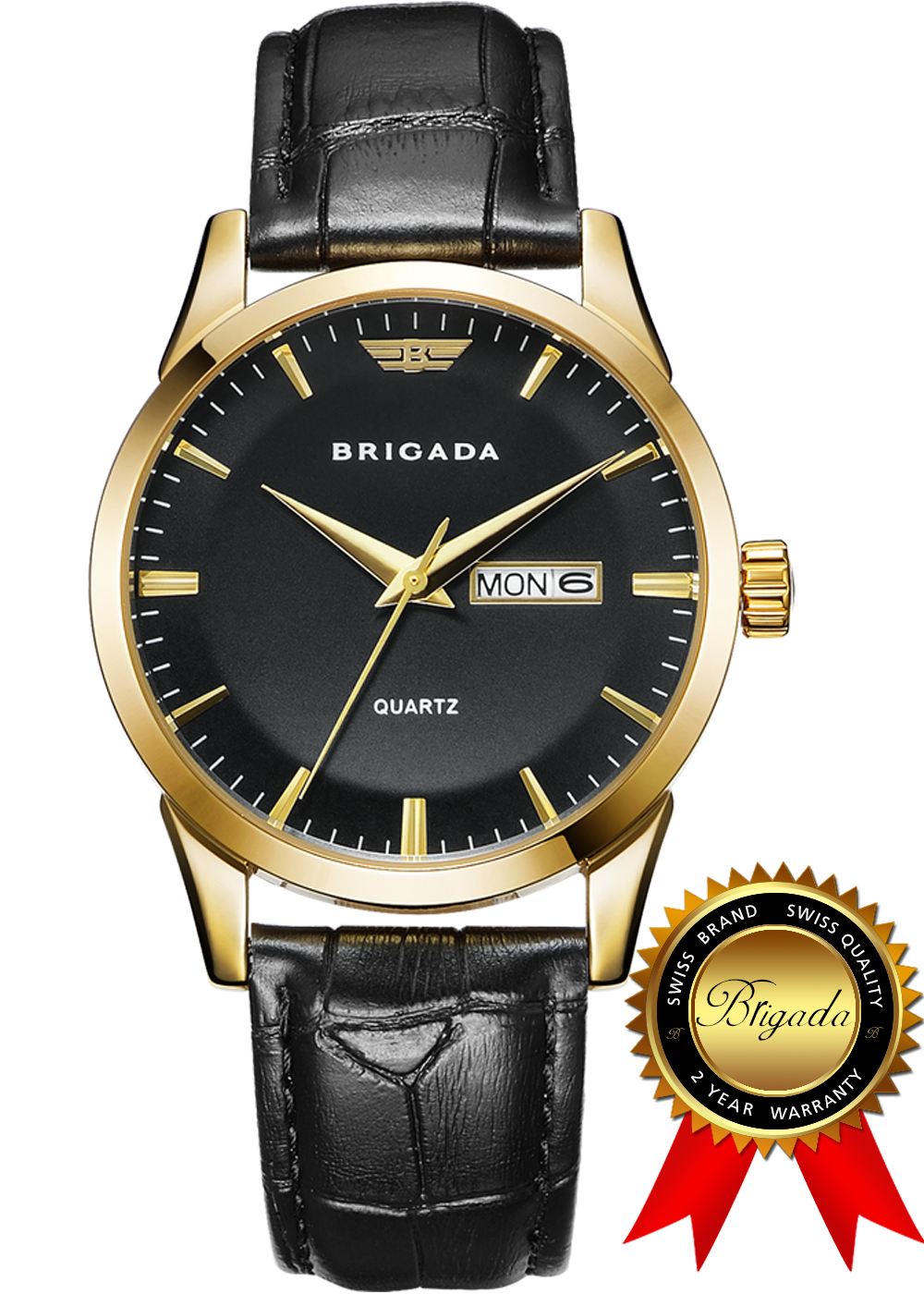 BRIGADA Swiss Watches for Men, Classic Gold Black Business Casual Quartz Men's Watch, Great Gift for Someone or Yourself fashion quartz gold two horse pocket watch antique man classic vintage fob watches men retro golden color black arabic hour gift