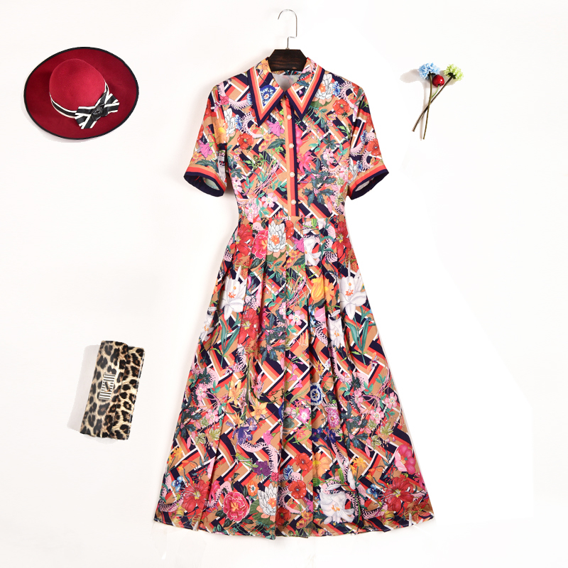 European Style Top Fashion Elegant Summer Women s Bohemian Dresses Short Sleeve Floral Printing Colorful Plus