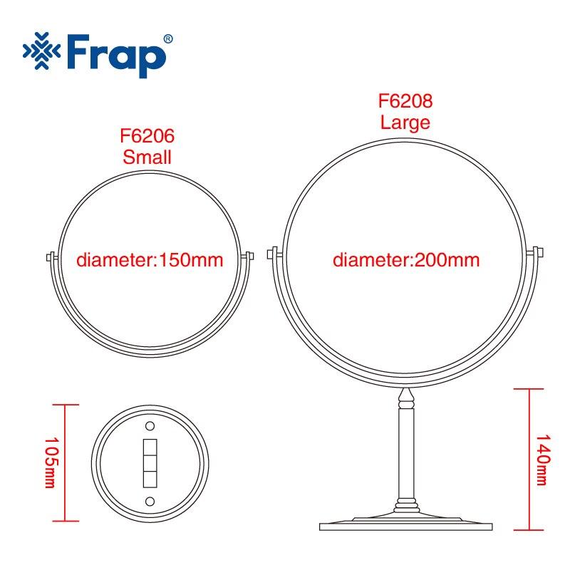 Frap New Arrival Makeup Mirror Professional Vanity Mirror Bathroom Accessories 180 Rotating Free Magnifier F6206 F6208 Bathroom Fixtures