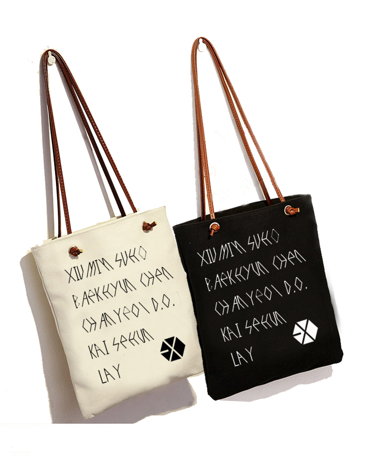 New Kpop EXO sehun baekhyun canvas bag Fashion Schoolbag Shoulder bag Sling Bag