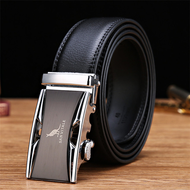 SAN VITALE Men Belts Genuine Leather Luxury Strap Male Belt for Man Homme Buckle Fancy Vintage Jeans Cintos Masculinos Ceinture