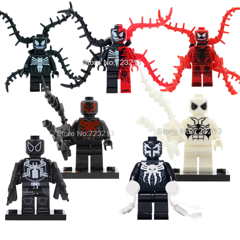 все цены на Single Sale Venom Carnage Spider Man Venom Legoingly Figure Marvel Super Hero Building Blocks Set Model Toys