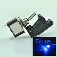 5 pcs Car Carbon Fiber Toggle Switch 12V 20A ON OFF 2 Pin SPST Red Blue LED Light with Cover Control Auto Rocker Switches