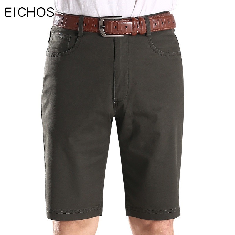 EICHOS Summer Mens Military Cargo Shorts Elasticity Casual Army Green Short Homme Cotton Solid Shorts Men Bermuda Trousers 42