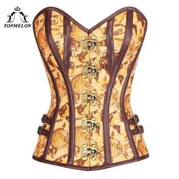 TOPMELON Steampunk Corset Bustier Gothic Corset Women Corselet Sexy Corset Retro Leather Globe Pattern Shows Party Corset Tops фото