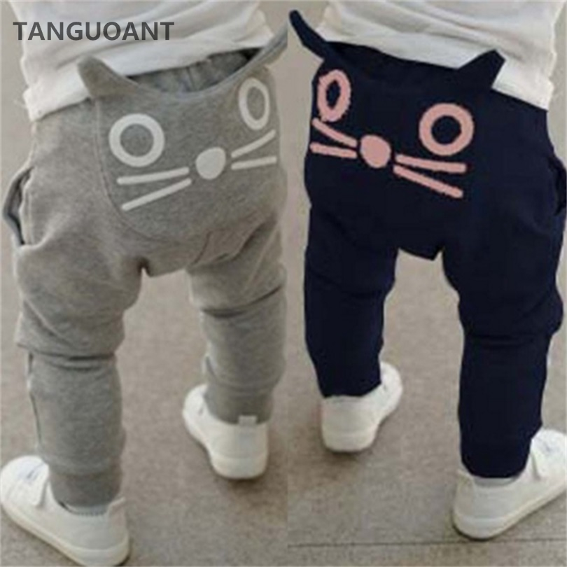 TANGUOANT Retail hot sale spring and autumn kids clothing boys girls harem pants cotton owl trousers baby pants(China)