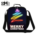 Merry Christmas printed thermal lunch bags for girls,insulated lunch container for adult work office,lunch box bag for children