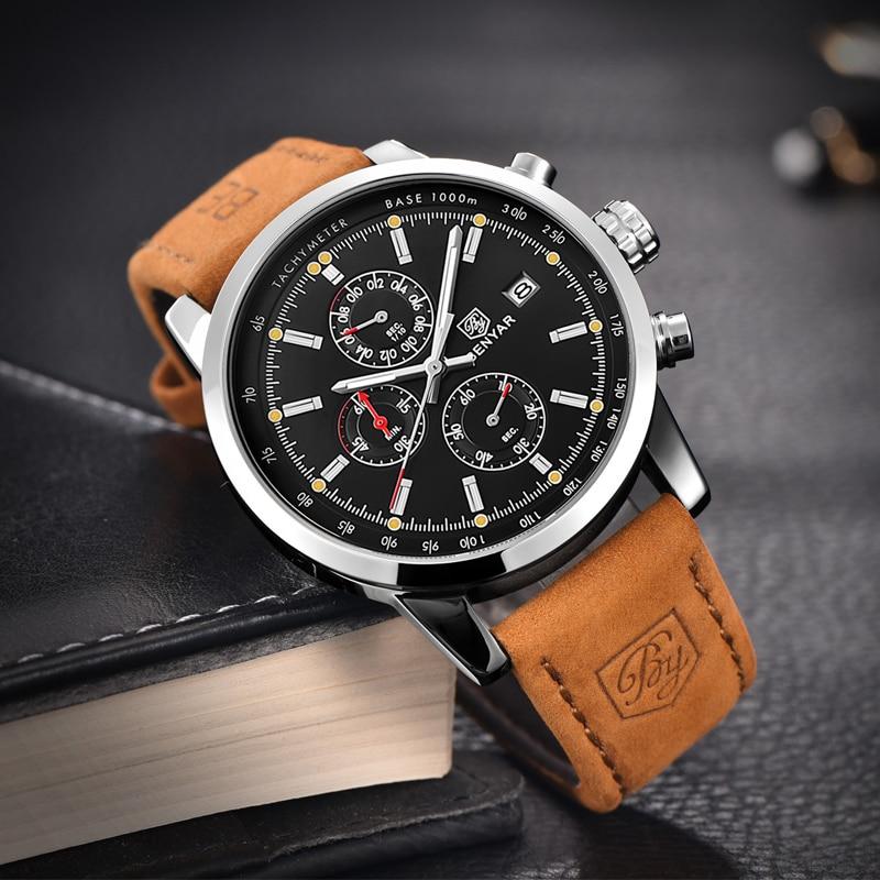 BENYAR Fashion Chronograph Sport Mens Watches Top Brand Luxury Quartz Watch Reloj Hombre saat Clock Male hour relogio Masculino 3