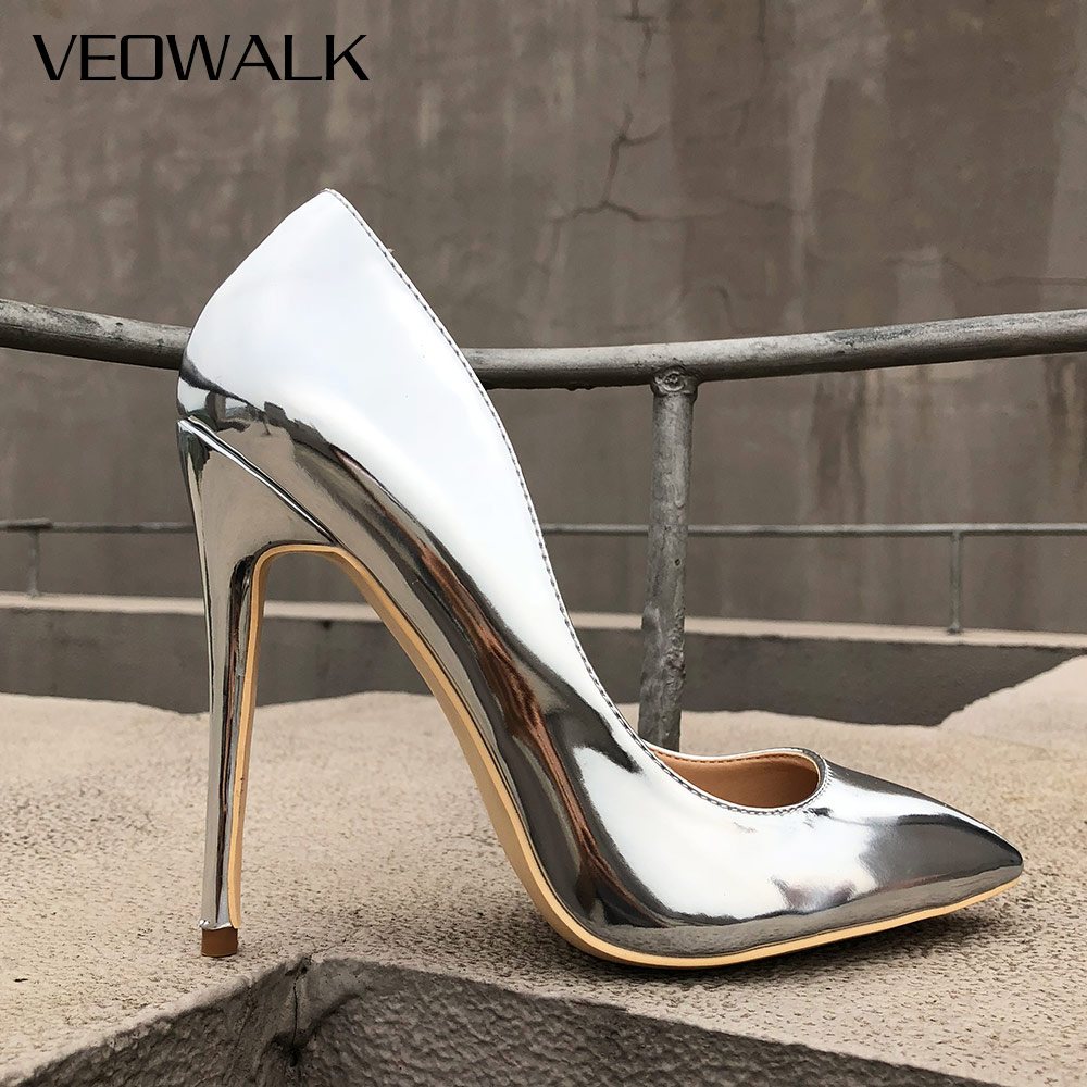 808a4d77a49a Veowalk Glossy Silver Patent Leather Women Sexy Pointed Toe High Heel Shoes  Ladies Fashion Party Stiletto Pumps Customize Accept