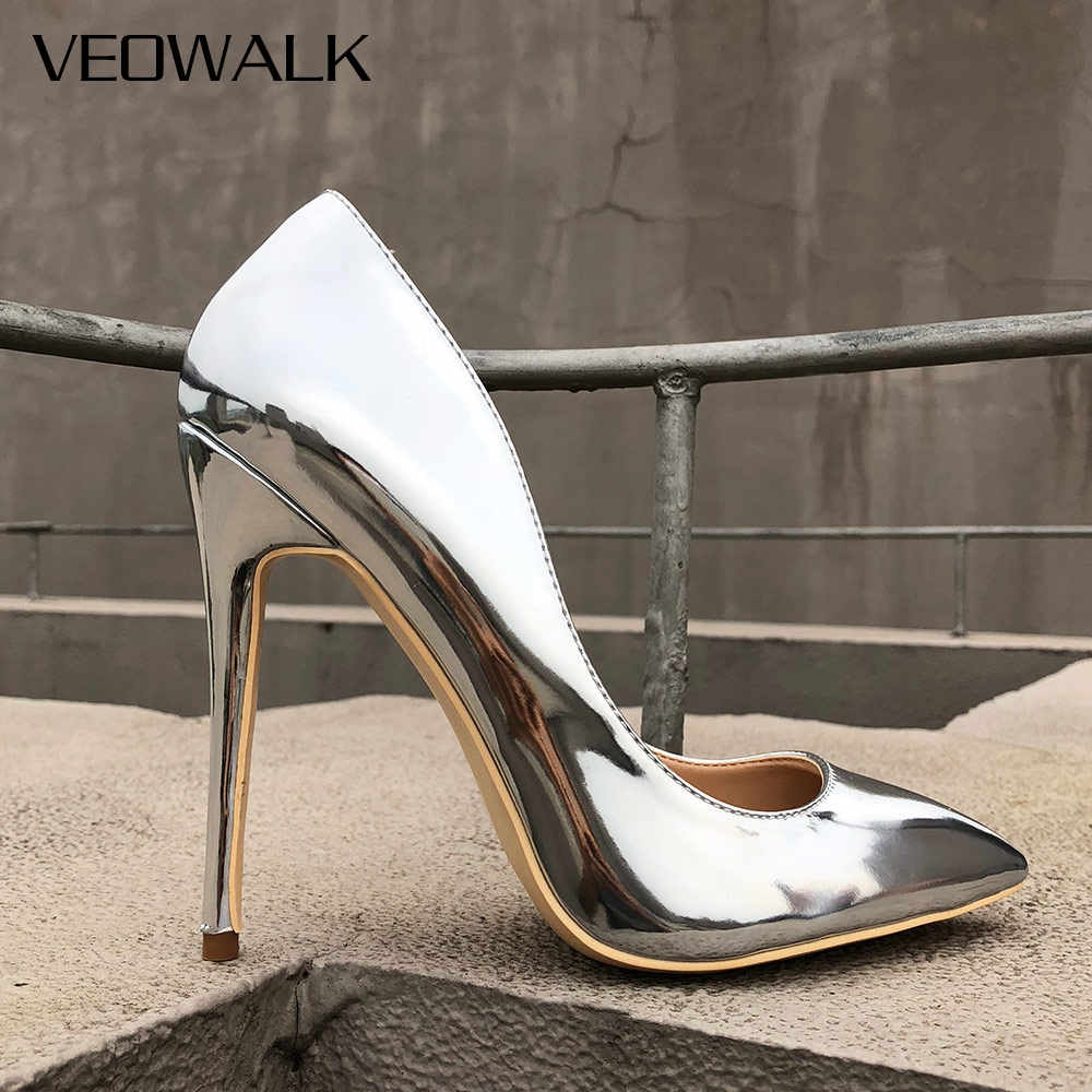 b79ed1f1fd9 Veowalk Glossy Silver Patent Leather Women Sexy Pointed Toe High Heel Shoes  Ladies Fashion Party Stiletto