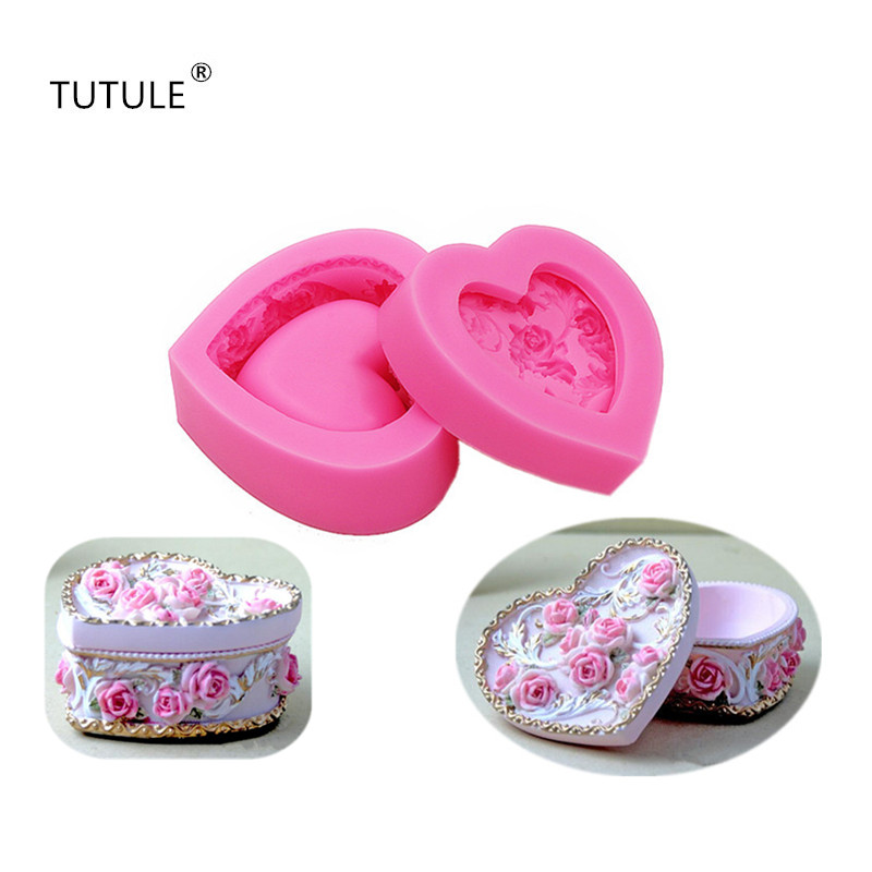 Gadgets Rose Jewelry Box Flexible Silicone Mold Candy ChocolateMold Soap Polymer Clay Resin Mold