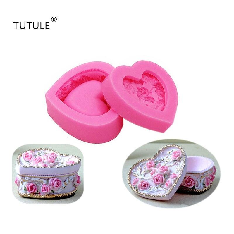 Gadgets-Rose boîte à bijoux Flexible Silicone moule bonbons ChocolateMold-savon polymère argile-résine moule
