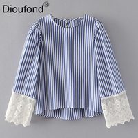 Dioufond Women Lace Applique O Neck Keyhole Back Striped Top 2017 Summer Tops Long Sleeve Casual