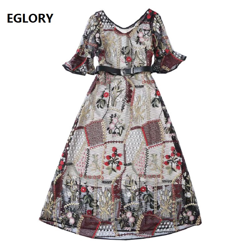 New Celebrity Inspired Women's Dresses 2019 Spring Summer V Neck Allover Luxurious Embroidery Mid Calf Length Tull Mesh Dress