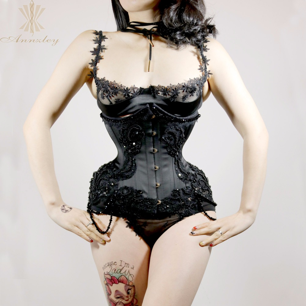 e3016a8ac5c Annzley Corset Purely Handmade Beading Black Underbust Steel Boned Corsets  For Waist Slimming