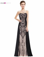 Evening Party Dress Ever Pretty New Arrival Sequin Black Women Unique Design Strapless Sexy Long Dress