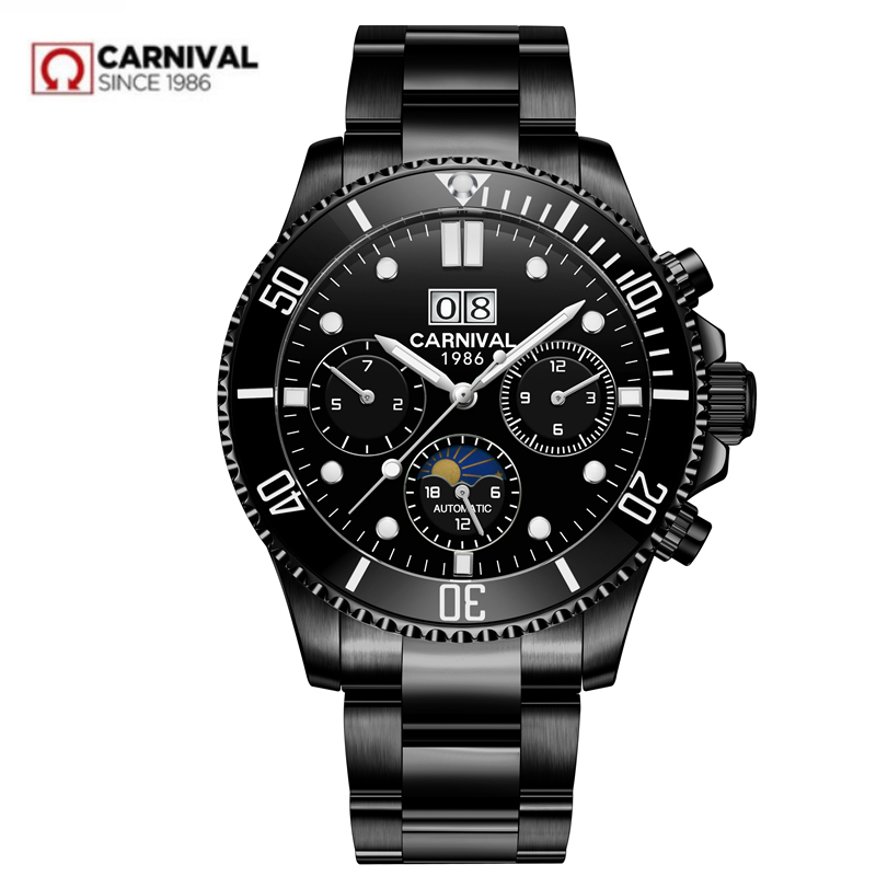 Moon phase luxury Automatic Mechanical watch men full steel waterproof Men Watches Clock reloj hombre erkek kol saati montre2018 carotif automatic mechanical men watches montre full steel male watch reloj hombre waterproof skeleton watch men erkek kol saati page 8